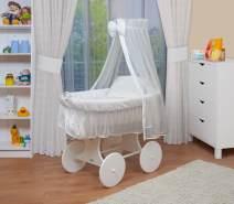 WALDIN Stubenwagen-Set mit Ausstattung Gestell/Räder weiß lackiert, Ausstattung weiß/weiß