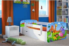 Kocot Kids 'Safari' Einzelbett weiß 80x180 cm inkl. Rausfallschutz, Matratze, Schublade und Lattenrost