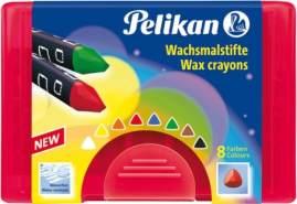 Pelikan Wachsmalstifte wasserfest dick dreieckig, 8er Set