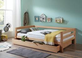 Relita Einzelbett Nora mit Bettkasten in Buche massiv, ohne Lattenrost, natur lackiert, Liegefläche 90x200 cm, Bettkasten 90x190 cm
