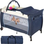 tectake 'Hund' Reisebett, Blau, höhenverstellbar, mit Schlupf, inkl. Wickelauflage und Spielbogen