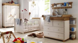 Babyzimmer Set HELSINKI 4-tlg. Kiefer massiv weiß und antik