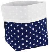Aufbewahrung im Kinderzimmer, stilvoll und praktisch, dunkelblaues Utensilo mit weißen Sternen