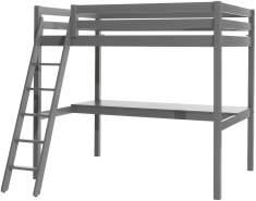 Vipack Hochbett 140 x 200 cm und großer Schreibtischplatte, Ausf. grau lackiert