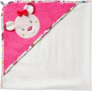 Fehn 076851 Kapuzenbadetuch Sweetheart - Bade-Poncho aus Baumwolle mit niedlichem Rehkitz für Babys und Kleinkinder ab 0+ Monaten - Maße: 80 x 80 cm