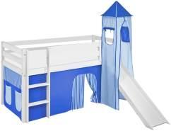 Lilokids 'Jelle' Spielbett 90 x 190 cm, Blau, Kiefer massiv, mit Turm, Rutsche und Vorhang