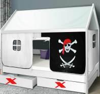 Parisot Hausbett weiß, 90 x 200 cm, inkl. Vorhang 'Pirat'