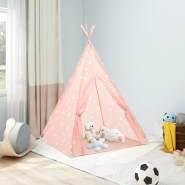 vidaXL Kinder Tipi-Zelt mit Tasche Polyester Rosa 115x115x160 cm