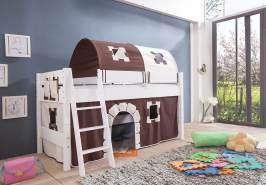 Halbhohes Spielbett Kim Buche massiv weiß lackiert mit Textil-Set