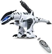 COSTWAY Ferngesteuert Dinosaurier Roboter, intelligentes interaktives Roboter-Dinosaurier, Dinosaurierspielzeug programmierbar, Kinderspielzeug elektrisch, ideal fuer Kinder über 3 Jahre alt, weiss