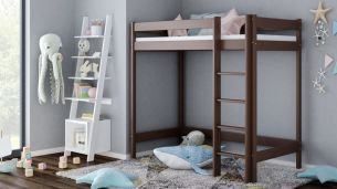 Kinderbettenwelt 'Luca' Hochbett 90x200 cm, schokolade, Kiefer massiv, inkl. Matratze und Lattenrost