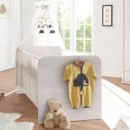 Babybett im Landhaus Design LUND-78 in Pinie weiß Nb, B/H/T: ca. 144/80/82 cm