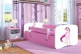 Kocot Kids 'Einhorn' Kinderbett 80 x 180 cm Rosa, mit Rausfallschutz, Matratze, Schublade und Lattenrost