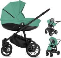 Bebebi Minigo Flow | 3 in 1 Kombi Kinderwagen Luftreifen | Farbe: Turquoise