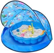 spielzelt mit Sandkasten 120 x 80 cm blau