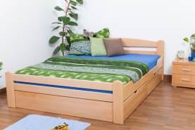 Doppelbett/FunktionsbettEasy Premium Line K4 inkl. 2 Schubladen und 1 Abdeckblende, 160 x 200 cm Buche Vollholz massiv Natur