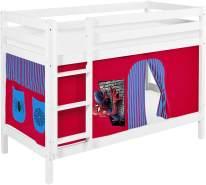 Lilokids 'Jelle' Etagenbett 90 x 190 cm, Spiderman, Kiefer massiv, mit Vorhang und Lattenroste