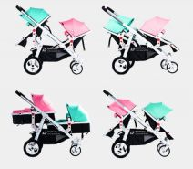 Babyfivestar Geschwisterwagen / Zwillingswagen Türkis / Pink