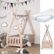 VitaliSpa 'Tipi' Kinderbett, Natur, 70 x 140 cm, inkl. Matratze, Rausfallschutz und Lattenrost, Buche massiv