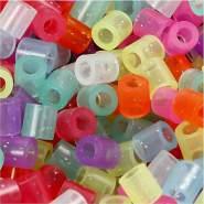 Bügelperlen, Größe 5x5 mm, Lochgröße 2,5 mm, Glitter Farben, Medium, 30000sort.