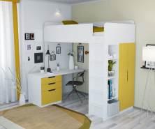 Polini Kids Funktionsbett weiß/gelb, inkl. Kleiderschrank und Schreibtisch