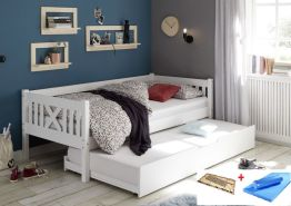 Bega 'Trevi' Kinderbett 90x200 cm, weiß, Kiefer massiv, inkl. Bettliege, Lattenrost und Matratze (blau)