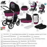 Bebebi Bellami | 2 in 1 Kombi Kinderwagen | Luftreifen | Farbe: Bellaviola