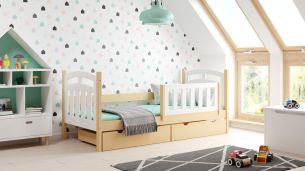 Kinderbettenwelt 'Susi' Kinderbett 80x160 cm, weiß/natur, Kiefer massiv, inkl. Lattenrost und zwei Schubladen