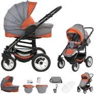 Bebebi Florenz | Luftreifen in Weiß | 2 in 1 Kombi Kinderwagen | Luftreifen | Farbe: Spirito Orange Black