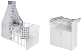 Schardt 'Classic-Line' 2-tlg. Babyzimmer-Set weiß mit textiler Ausstattung Vichy grey