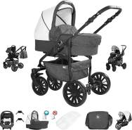 Friedrich Hugo Berlin | 3 in 1 Kombi Kinderwagen Komplettset | Luftreifen | Farbe: Dark Grey and White Night