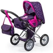 Bayer Design 13679AA City Star in modernen Design, Kombi Puppenwagen, mit herausnehmbarer Tragetasche und Umhängetasche, höhenverstellbar, für Puppen bis 46cm, pink, lila, Fee mit Muster