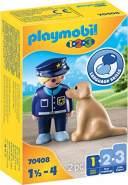 Playmobil 1.2.3 70408 'Polizist mit Hund', 2 Teile, ab 1,5 Jahren