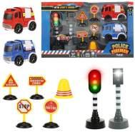 Toi Toys - Set 'Verkehr' mit Feuerwehr und Polizeiauto