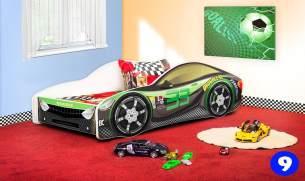 Lux4Kids Autobett 70x140 cm, Racing Green, mit Matratze und Lattenrost