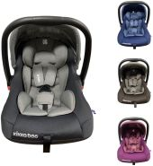 Kikkaboo Kindersitz, Babyschale Vivo Gruppe 0+ (0 - 13 kg) weiches Körperkissen grau