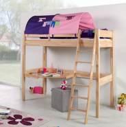 Relita 'RENATE' Multifunktionsbett mit Schreibtisch Buche, Stoffset Rosa/Lila mit Matratze