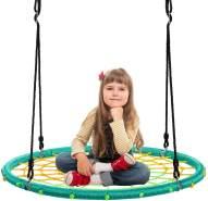 COSTWAY 100cm Nestschaukel Spinnennetz Kinderschaukel, Rundschaukel 100-160cm Seil, Baumschaukel 150kg Tragkraft, Tellerschaukel Haengeschaukel (Grün)