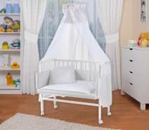 WALDIN Beistellbett mit Matratze und Nestchen, höhenverstellbar, Ausstattung Punkte, Gestell Weiß lackiert