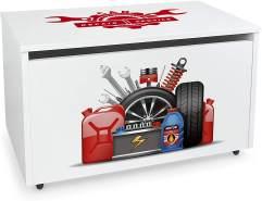 XXL Holz Kinderbank auf Rdern - Autowerkstatt - weie Spielzeugkiste mit Stauraum