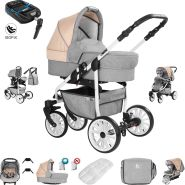 Friedrich Hugo Berlin | 4 in 1 Kombi Kinderwagen + ISOFIX| Luftreifen | Farbe: Light Grey and Beige Day