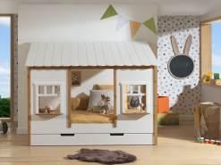 Vipack Landhausbett mit Dach, Liegefläche 90 x 200 cm, inkl. Lattenrost und Bettschublade, Ausf. teilmassiv Kiefer, Farbe Oak/Weiß