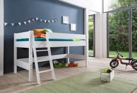 Relita 'Kim' Halbhohes Spielbett, Buche massiv, weiß lackiert