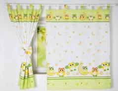 BabyLux 'Eule' Vorhänge mit Schlaufen, grün