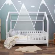 Alcube 'Mika' Hausbett 80x160 cm, weiß, Kiefer massiv, mit Rausfallschutz
