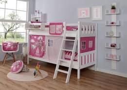 Ticaa 'Erni' Etagenbett Vertikal Buche Weiß inkl. Vorhang Horse-Pink