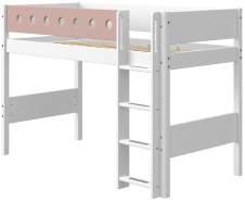 Flexa White Mittelhochbett mit gerader Leiter 90 x 190 cm Weiß / Rosa