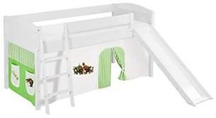 Lilokids 'Ida 4106' Spielbett 90 x 200 cm, Dinos Grün Beige, Kiefer massiv, mit Rutsche und Vorhang