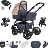 Friedrich Hugo Berlin | 4 in 1 Kombi Kinderwagen + ISOFIX | GEL Reifen | Farbe: Dark Blue and Beige Night