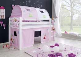"""Relita Halbhochbett Spielbett ALEX-13 Buche massiv weiß lackiert mit Stoffset Vorhang, 2-er Tunnel & Tasche """"Princess"""""""